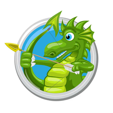 ascendant: Sagittarius. Zodiac sign. Horoscope. Green dragon i using its tail like a bow and aiming with arrow