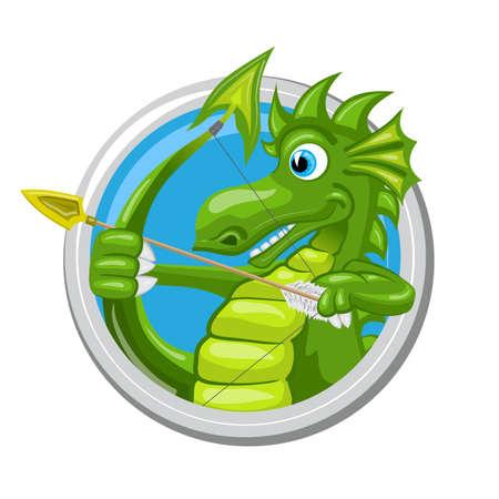 Sagittarius. Zodiac sign. Horoscope. Green dragon i using its tail like a bow and aiming with arrow