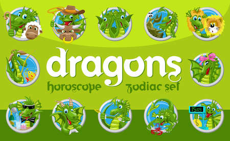 ascendant: Dragons horoscope set. Collection of twelve zodiac signs with dragons Illustration