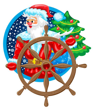 Santa Claus the Sailor on ship with steering wheel and furtree