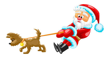 Santa Claus is walking and pulling the little dog