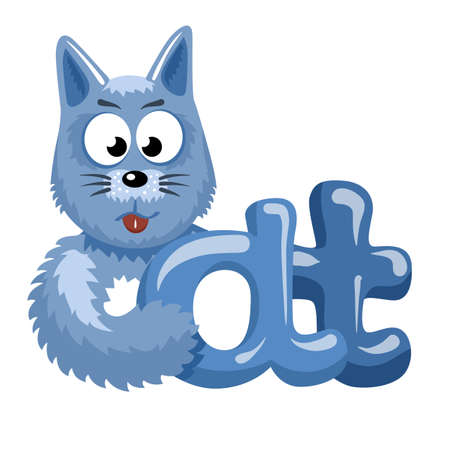 Blue funny cat logotype. Blue and grey logo