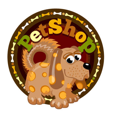 Brown spotted dog. Pet shop round icon signboard of shop for animals.