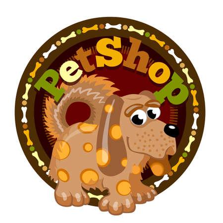 Bruine Gevlekte Hond. Dierenwinkel om pictogram uithangbord van winkel voor dieren. Stockfoto - 98792806