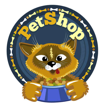 Cute cat with bowl of food. Pet shop round icon signboard of shop for animals.