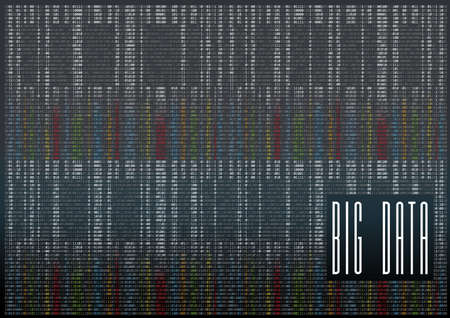 Big Data vector background with lot of numbers. Dropping color figures of one and zero Ilustração