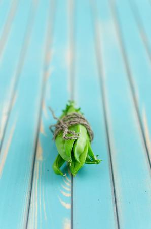 roped: Un mont�n de vainas frescas de guisantes verdes cordada con un cordel en la estilizada edad envejecido fondo de la tarjeta de color turquesa de madera de cerca, con un enfoque selectivo. Fondo r�stico con espacio de texto libre.
