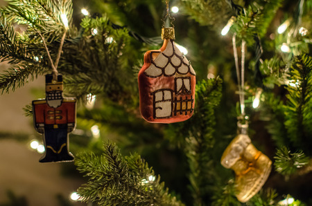 magic beautiful christmas tree with old fashioned retro christmas toys close up and beautiful - Sign Up For Free Christmas Toys