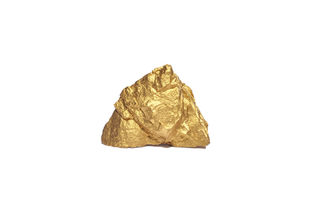 Closeup of big gold nugget on a white background Foto de archivo