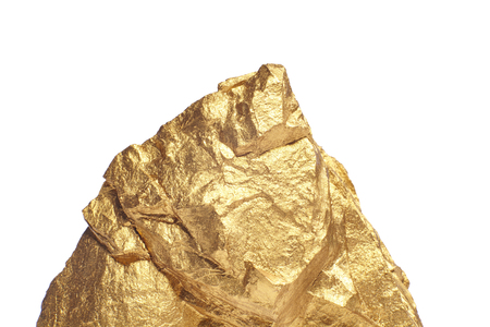 constancy: Closeup of big gold nugget on a white background Stock Photo