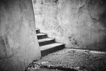 old broken stairs, black and white photography