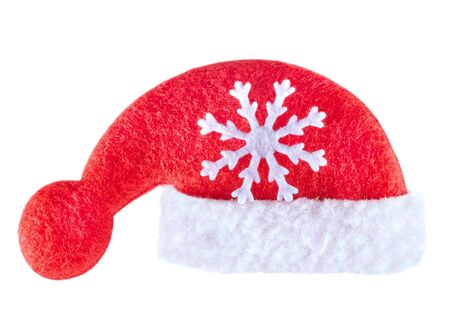 Christmas Santa Clause hat. Isolated On White Background.