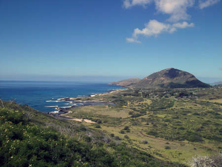 diamond head: Oahu coastline with Diamond Head in site.