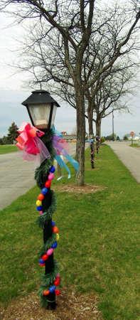lamp post: Colorful winding eggs onb lamp post