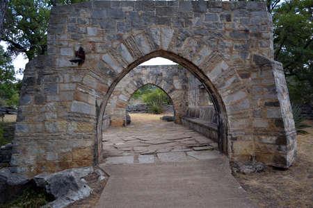 archways: Old Brick archways along a walkway