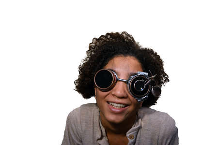 steampunk goggles: Teenager dressed up in steampunk goggles, isolated on white Stock Photo
