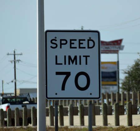 Speed Limit 70 Sign 写真素材