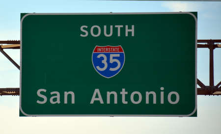 San Antonio Hwy 35 Road Sign Stock Photo