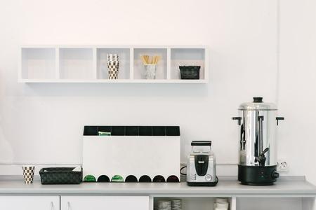 Modern luxury hi-tek black and white kitchen, clean interior design Stok Fotoğraf