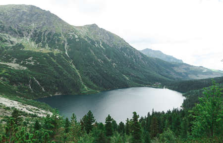 Landscape.View of Lake Morskie Oko from above. Tatra National Park. Tatra Mountains. Background, Wallpaper