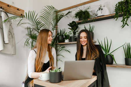 Young businesswomen in casual clothes at a meeting in cafe, communicate with a smile on their faces and enjoy a laptop. Two girlfriends office workers take a break in a cozy cafe with a cup of coffee