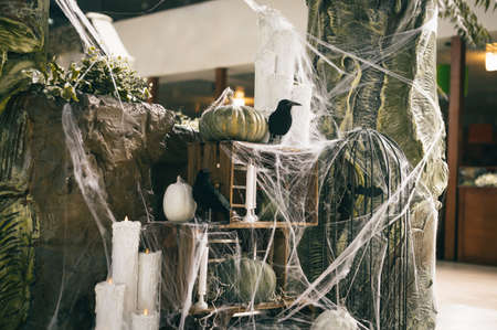 Halloween decorations indoors. Pumpkins, cobwebs and crows with candles, photo area. Halloween. concept. Background