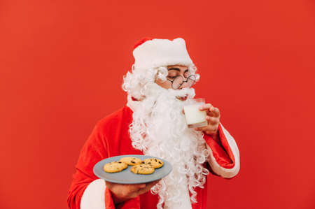 Cute Santa drinks milk from a glass and eats Christmas chocolate chip cookies from a plate on a red background. Sweet sweets for Santa.