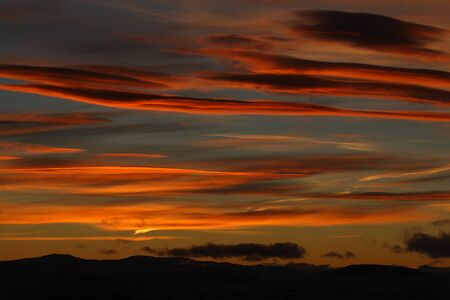 Beautiful sunset with orange clouds