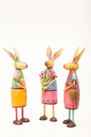 Three cute rabbits are chatting