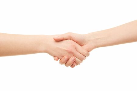 Two women hand shaking. Agreement.