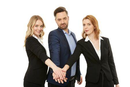 Businessman with two beautiful businesswomen. Teamwork.