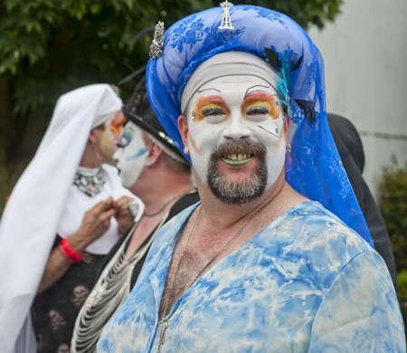 solstice: SEATTLE, WA - JUNE 16, 2012: A member of the Sisters of Perpetual Indulgence participates the annual Fremont Summer Solstice Day Parade on June 16, 2012 in Seattle. Editorial