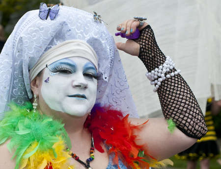 indulgence: SEATTLE, WA - JUNE 16, 2012: A member of the Sisters of Perpetual Indulgence participates the annual Fremont Summer Solstice Day Parade on June 16, 2012 in Seattle. Editorial