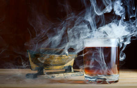 dependency: Alcohol and cigar                                Stock Photo