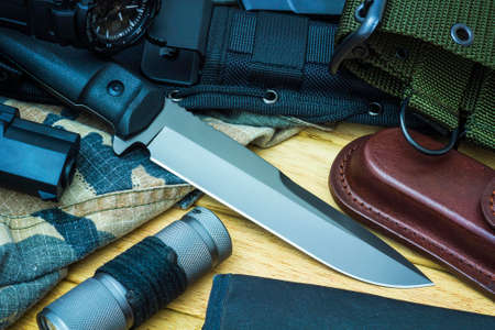 Knife and military equipment photo