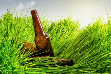 Grass lying glass bottles Stock Photo