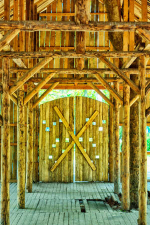 rafters: Old room with wooden columns barn-type