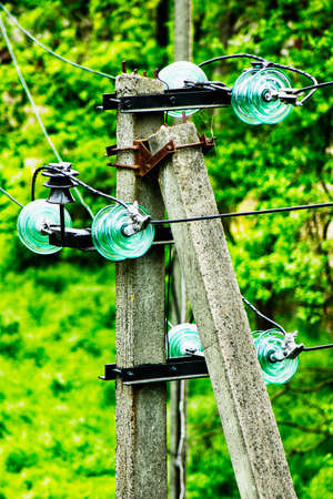 Electric insulators and wires on the pole