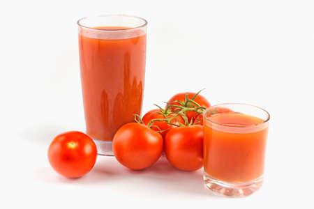 Tomato juice, and tomato on isolated background