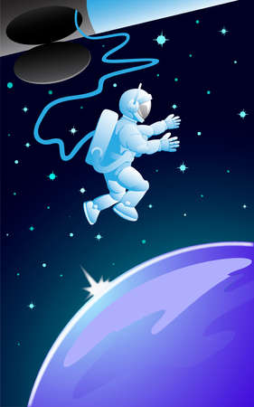 Floating in outer space vector