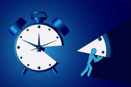 The man stole a piece of the clock illustration.
