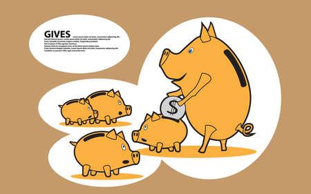 Pig piggy share their savings.