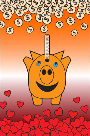 Pig piggy in the ecstasy of love happy.