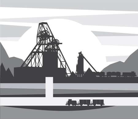 鉱山の鉱石の採掘、ベクトル図