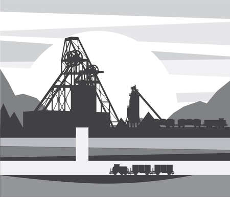 Mine for ore extraction, vector illustration Vettoriali