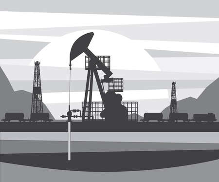 Tower and borehole for oil production Stock Vector - 88638167