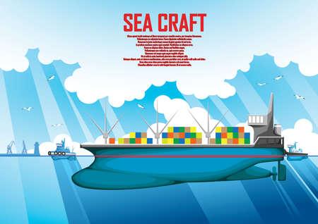 Illustration on a merchant sea merchant poster Ilustração