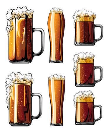 Beer glasses set of illustrations. Ilustracja