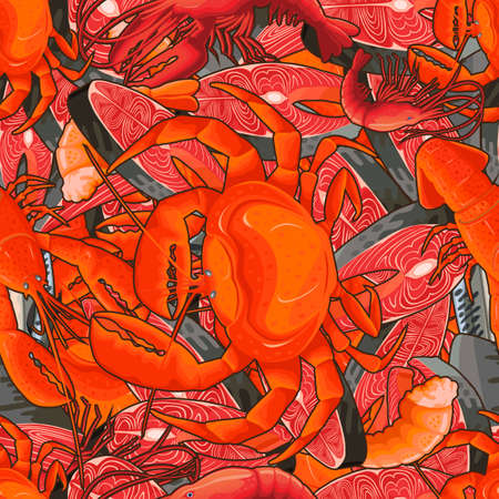 Seafood illustrations in the form of a pattern