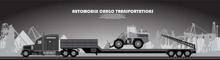 Truck with a trailer poster on an industrial theme